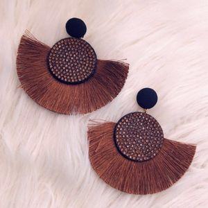Brown tassel stud earrings